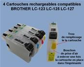 4 Cartouches rechargeables compatibles BROTHER LC-123 LC-125 LC-127