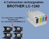 4 Cartouches Brother LC1240 Vides rechargeables compatible
